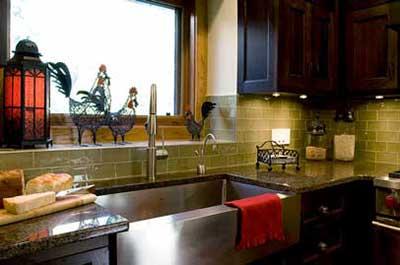green kitchen tile backsplash stainless steel sink interior kitchen renovation red deer