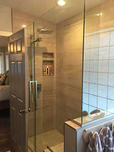 standup shower glass doors ensuite red deer bathroom renovations