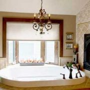 interior white bath chandelier and window bathroom renovation red deer