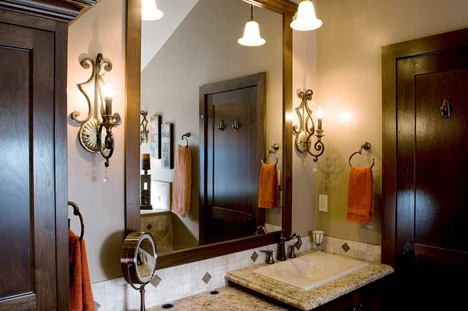bathroom mirror and sink with lights red deer bathroom renovations