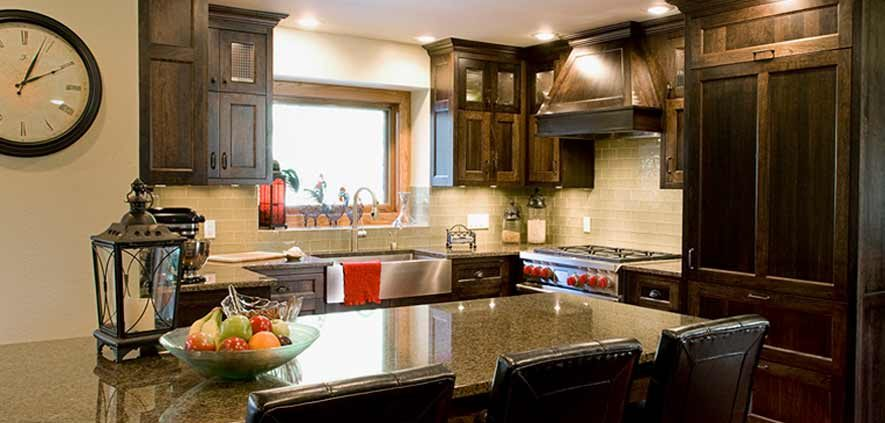 rustic kitchen brown cabinets