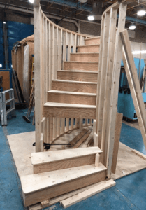 curved staircase near completion